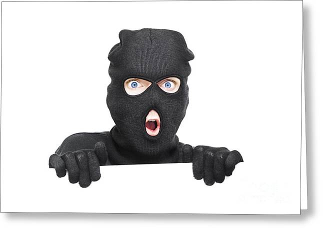 Surprised Robber Holding Blank Security Sign Greeting Card by Jorgo Photography - Wall Art Gallery