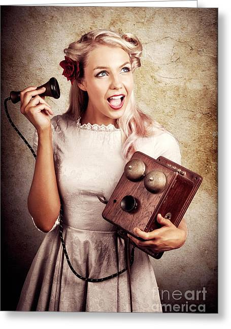 Surprised Telephone Operator With Good Or Bad News Greeting Card