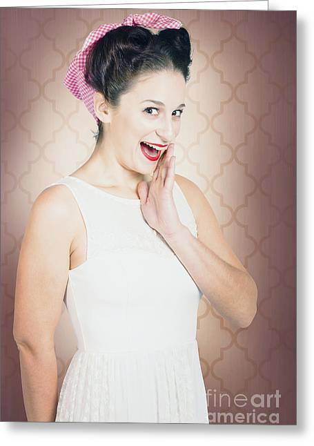 Surprised Woman With Brunette Hair And Red Lips Greeting Card by Jorgo Photography - Wall Art Gallery