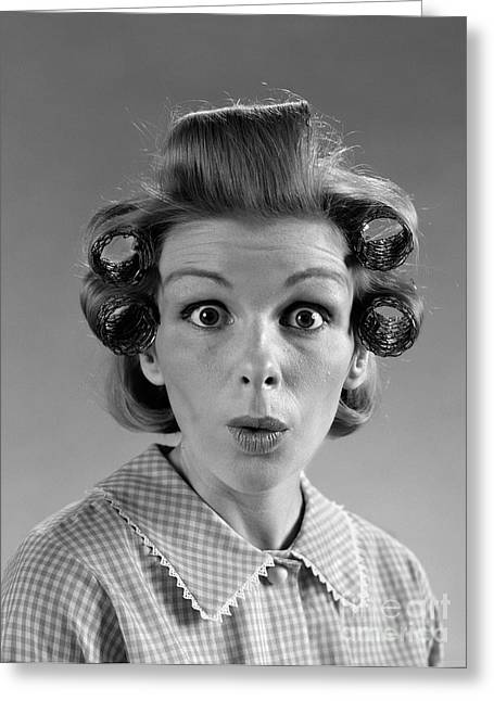 Surprised Woman With Hair In Rollers Greeting Card by H. Armstrong Roberts/ClassicStock