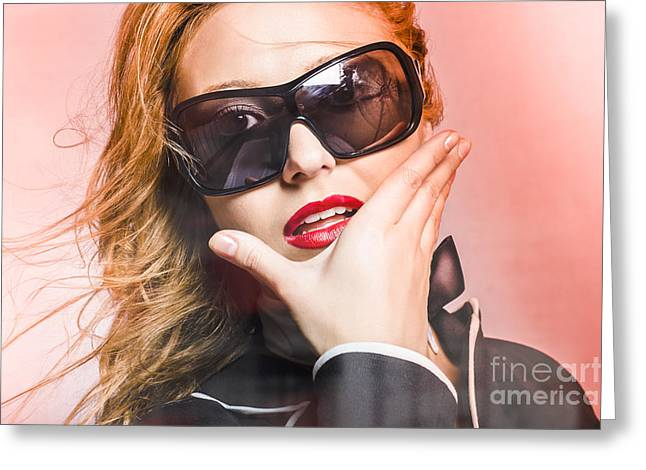 Surprised Young Woman Wearing Fashion Sunglasses Greeting Card