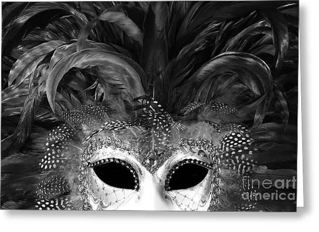 Surreal Black White Mask - Gothic Surreal Costume Black Mask - Surreal Masquerade Face Mask  Greeting Card by Kathy Fornal