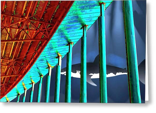 Surreal Bridge Shark Cage Greeting Card by Elaine Plesser