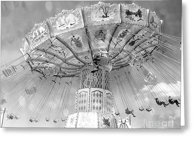 Greeting Card featuring the photograph Surreal Carnival Rides - Carnival Rides Ferris Wheel Black And White Photography Prints Home Decor by Kathy Fornal