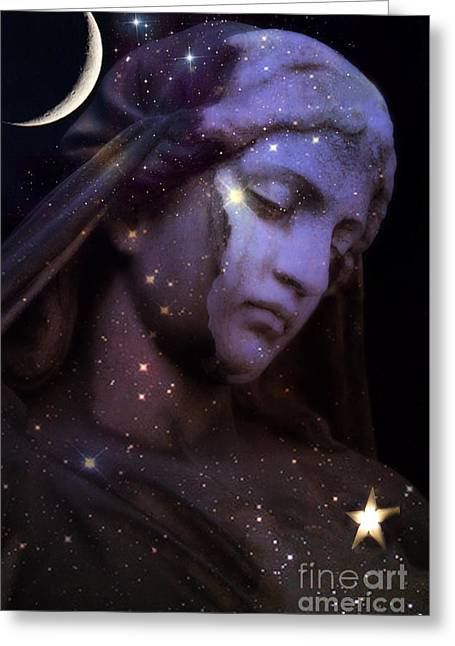 Surreal Celestial Angelic Face With Stars And Moon - Purple Moon Celestial Angel  Greeting Card by Kathy Fornal