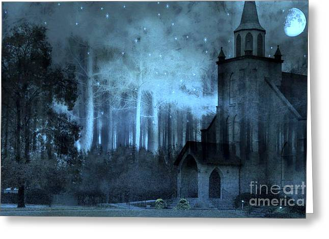 Surreal Church In Woods Blue Moon Starry Full Moon Night  Greeting Card by Kathy Fornal