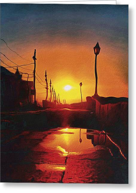 Surreal Cityscape Sunset Greeting Card