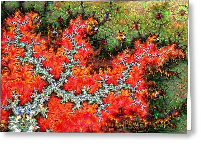 Surreal Deep Dream Fractal With Dogs Greeting Card