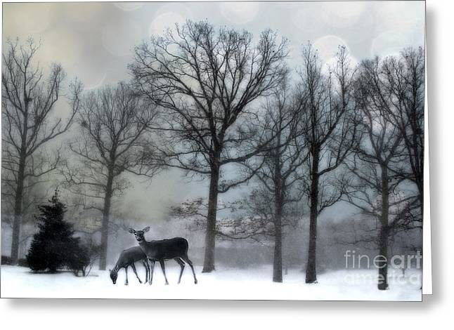 Surreal Dreamy Deer Herd Michigan Winter Snow Greeting Card by Kathy Fornal