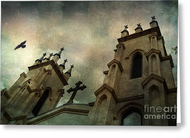 Surreal Ethereal Gothic Church With Cross - Haunting Church Architecture Greeting Card by Kathy Fornal