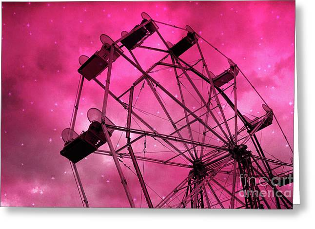 Surreal Fantasy Dark Pink Ferris Wheel Carnival Ride Starry Night - Pink Ferris Wheel Home Decor Greeting Card by Kathy Fornal