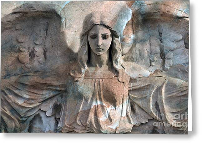 Surreal Angel Art Greeting Cards - Surreal Fantasy Dreamy Angel Art Wings Greeting Card by Kathy Fornal
