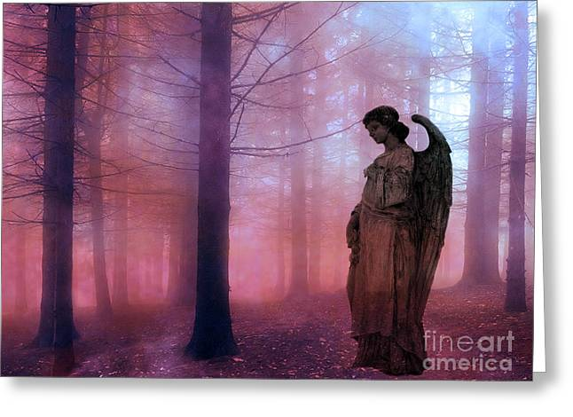 Surreal Fantasy Fairytale Angel In Foggy Woodlands - Ethereal Angel Art Greeting Card by Kathy Fornal