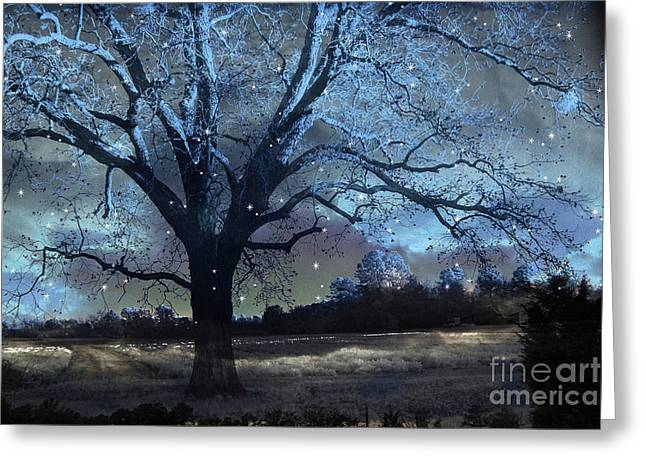 Surreal Fantasy Fairytale Blue Starry Trees Landscape - Fantasy Nature Trees Starlit Night Wall Art Greeting Card by Kathy Fornal