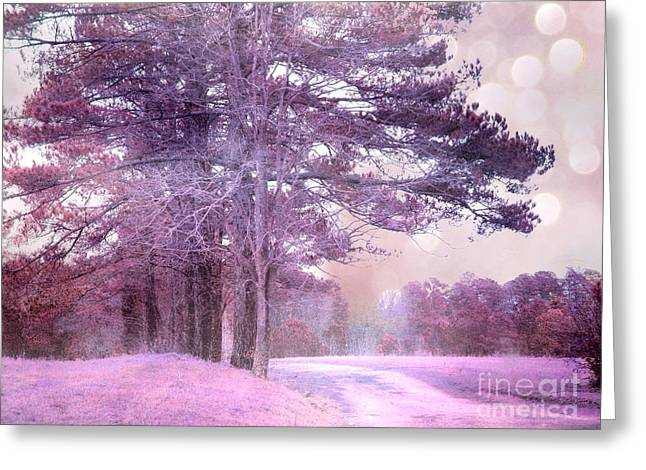 Surreal Fantasy Fairytale Purple Lavender Nature Landscape - Fantasy Lavender Bokeh Nature Trees Greeting Card by Kathy Fornal