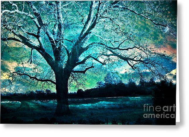 Surreal Fantasy Gothic Aqua Teal Blue Trees Nature Infrared Landscape Wall Art Greeting Card by Kathy Fornal
