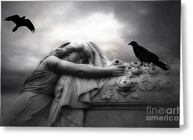 Surreal Gothic Cemetery Angel Mourning Figure With Black Ravens  Greeting Card