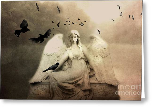 Surreal Gothic Cemetery Angel With Flying Ravens - Ethereal Surreal Gothic Angel Art Greeting Card by Kathy Fornal