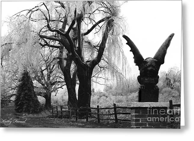 Surreal Gothic Gargoyle Black And White Tree Infrared Landscape  Greeting Card by Kathy Fornal