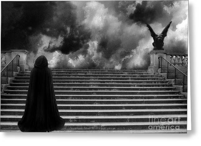 Surreal Gothic Infrared Black Caped Figure With Gargoyle On Paris Steps Greeting Card by Kathy Fornal