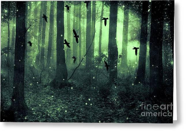 Surreal Haunting Fantasy Green Woodlands Trees Flying Ravens Stars Fairylights Sparkling Nature  Greeting Card