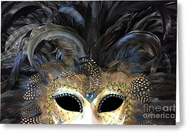 Surreal Haunting Gothic Masquerade Mask Art Print - Black Gold Mask Costume Home Decor Greeting Card by Kathy Fornal