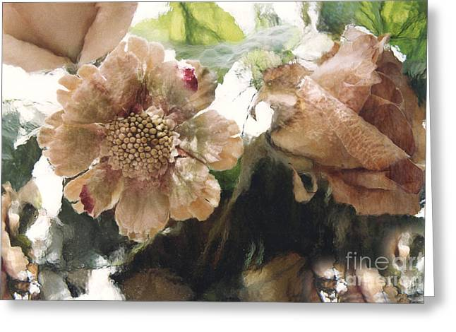 Surreal Impressionistic Green Peach Floral Prints - Romantic Watercolor Peach Green Floral Decor Greeting Card