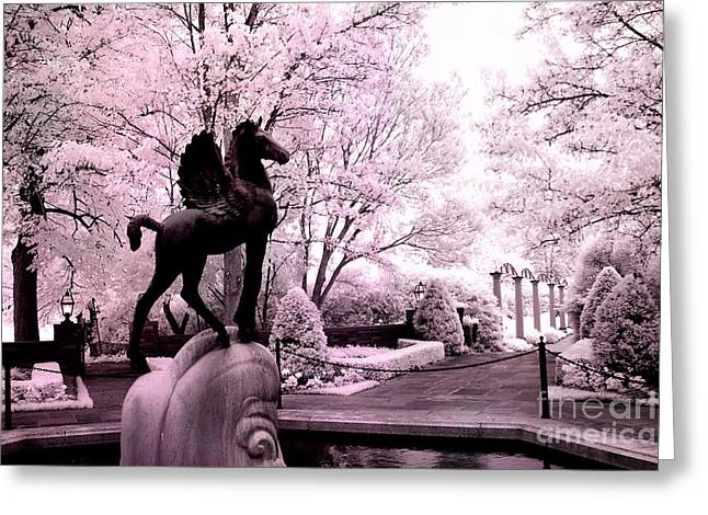Surreal Infared Pink Black Sculpture Horse Pegasus Winged Horse Architectural Garden Greeting Card by Kathy Fornal