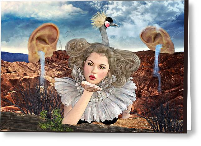 Surreal Kiss Greeting Card by Ally White