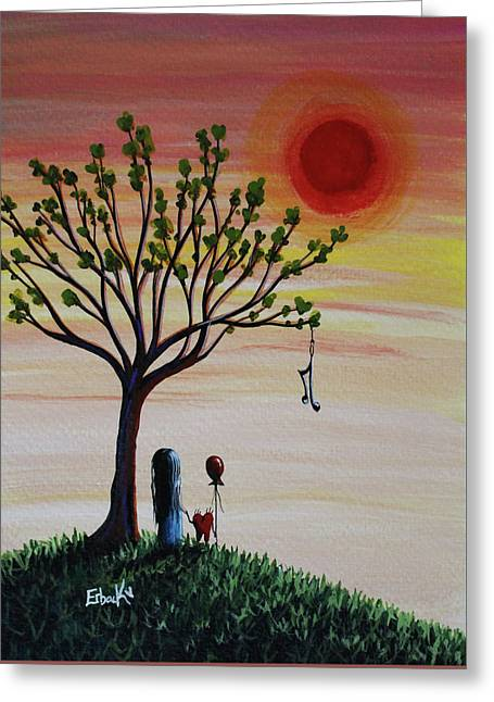 Surreal Landscape Art With Tree Of Life Greeting Card