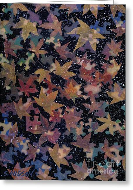 surreal landscape with autumn leaves - Autumn Sky Greeting Card