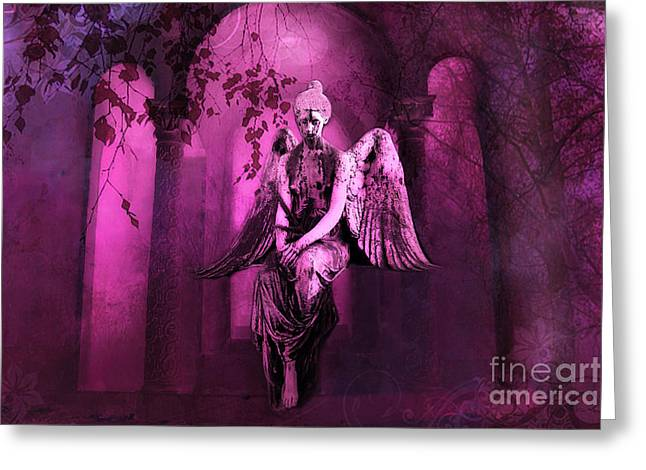Surreal Sad Gothic Angel Purple Pink Nature - Haunting Sad Angel In Woods Greeting Card by Kathy Fornal