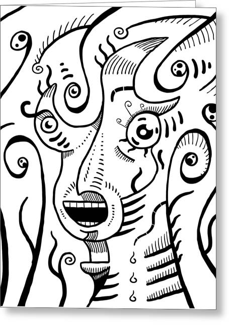 Surrealism Scream Black And White Greeting Card