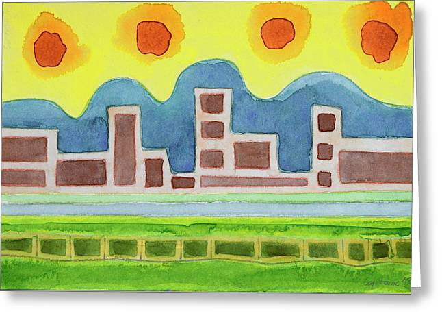 Surreal Simplified Cityscape  Greeting Card