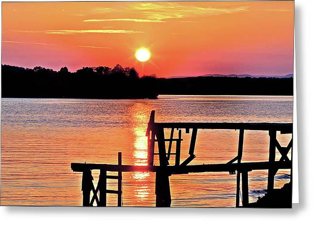 Surreal Smith Mountain Lake Dock Sunset Greeting Card