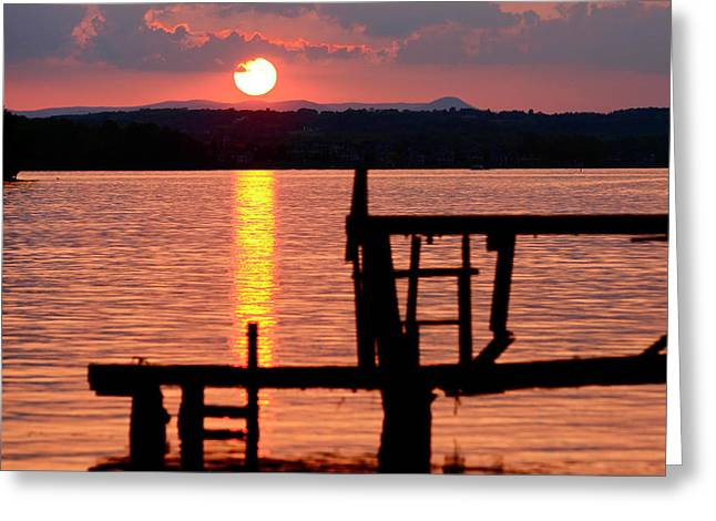 Surreal Smith Mountain Lake Dockside Sunset 2 Greeting Card by The American Shutterbug Society