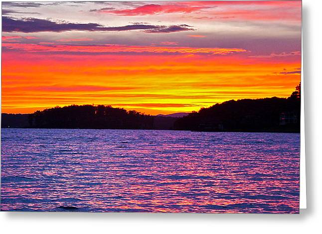 Surreal Smith Mountain Lake Sunset 2 Greeting Card by The American Shutterbug Society