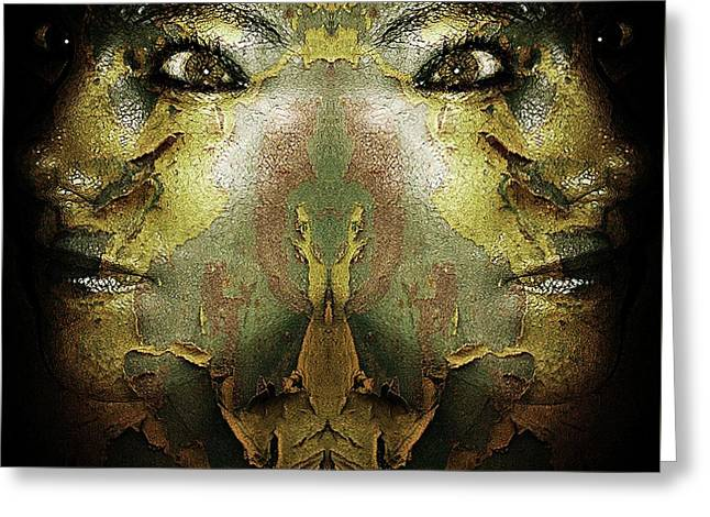 Surreal Soul Sister Greeting Card by Louisa Catharine