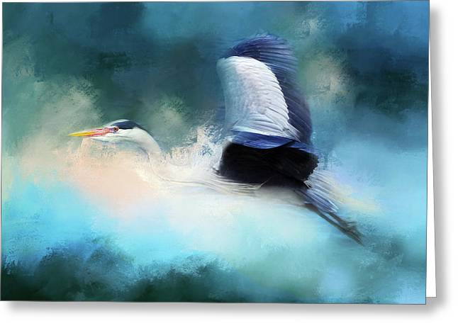 Surreal Stork In A Storm Greeting Card by Georgiana Romanovna