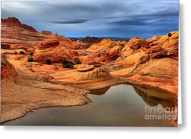 Surreal Stormy Landscape Greeting Card by Adam Jewell