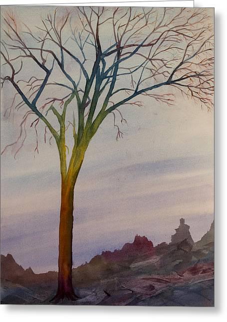Surreal Tree No. 2 Greeting Card by Debbie Homewood