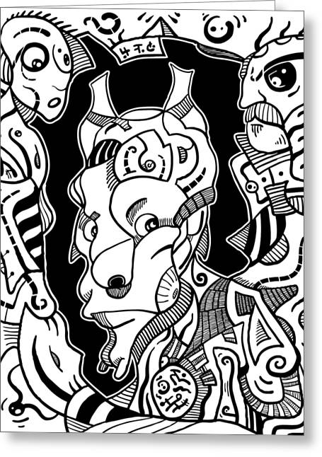 Surrealism Pagan Black And White Greeting Card