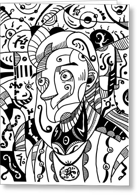 Surrealism Philosopher Black And White Greeting Card