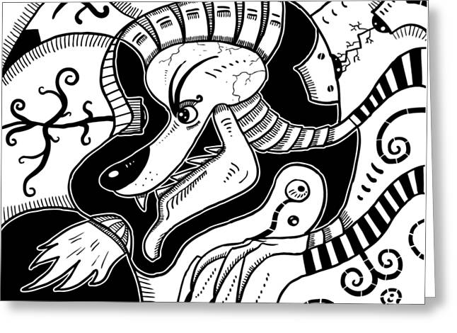 Surrealism Wolf Black And White Greeting Card