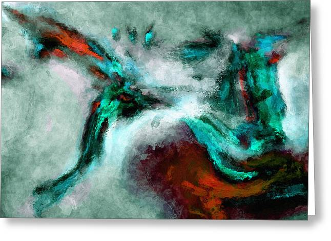 Greeting Card featuring the painting Surrealist And Abstract Painting In Orange And Turquoise Color by Ayse Deniz