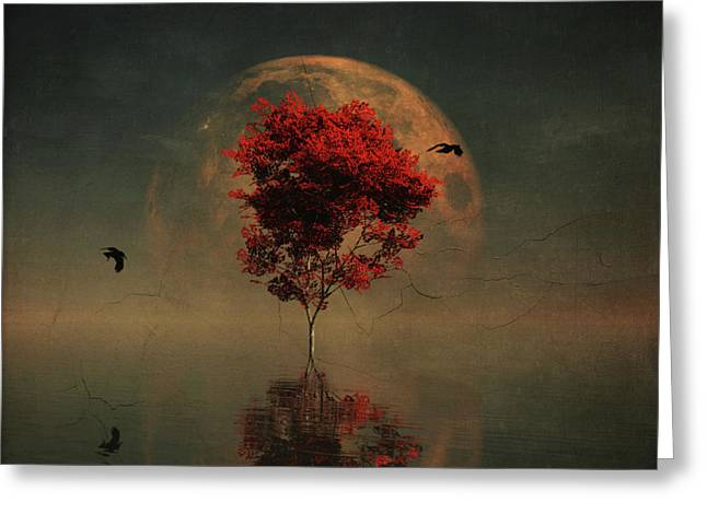 Surrealistic Landscape With Red Mapple And Full Moon Greeting Card