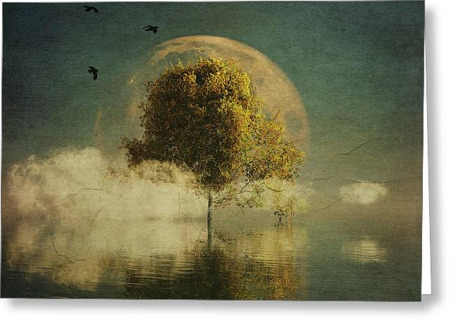 Surrealistic Landscape With Yellow Birch And Full Moon Greeting Card