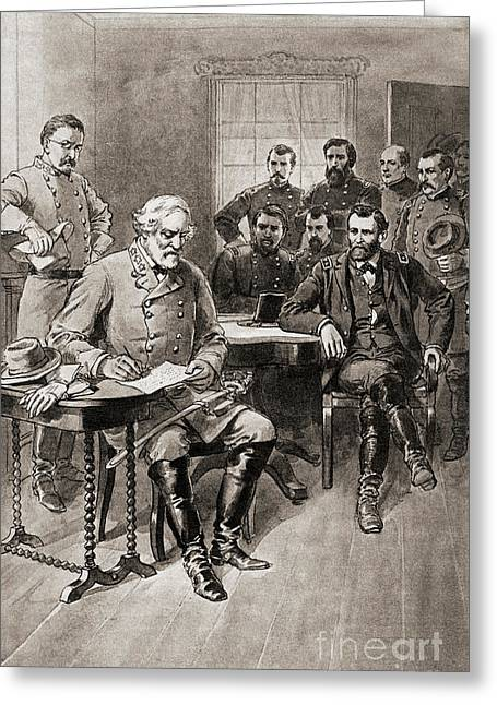 Surrender Of Robert E Lee To General Ulysses S Grant, Appomattox Court House,virginia Greeting Card