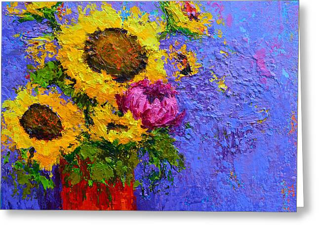 Surrounded By Joy - Modern Floral Impressionist Palette Knife Work Greeting Card by Patricia Awapara