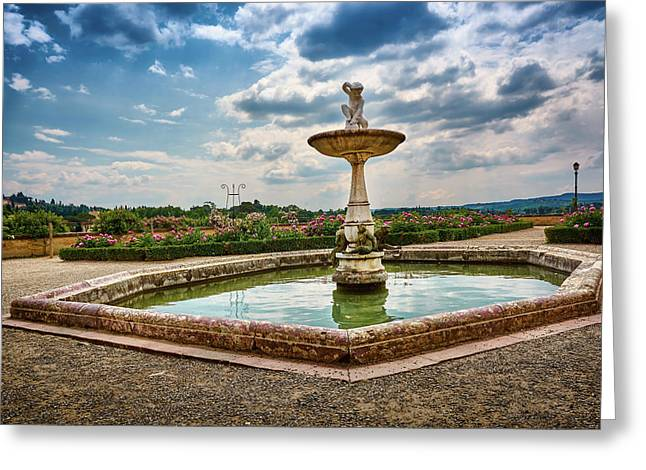 The Monkeys Fountain At The Gardens Of The Knight In Florence, Italy Greeting Card